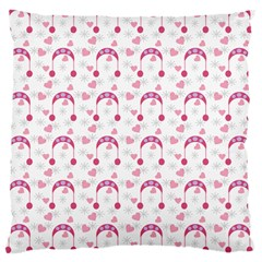 Winter Pink Hat White Heart Snow Large Cushion Case (one Side)