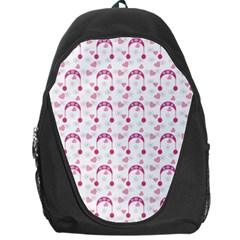Winter Pink Hat White Heart Snow Backpack Bag