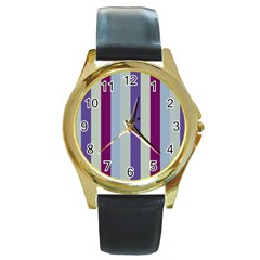 Sea The Sky Round Gold Metal Watch