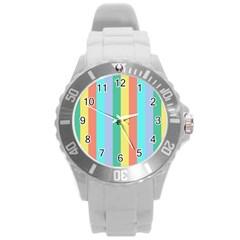 Summer Stripes Round Plastic Sport Watch (l)