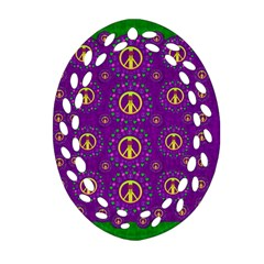 Peace Be With Us In Love And Understanding Ornament (oval Filigree)