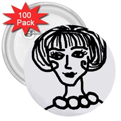 20s Girl 3  Buttons (100 Pack)