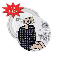 Girl Sitting 2 25  Buttons (10 Pack)