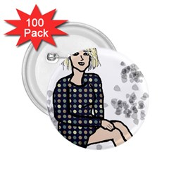 Girl Sitting 2 25  Buttons (100 Pack)