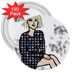 Girl Sitting 3  Buttons (100 Pack)