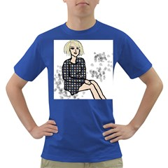 Girl Sitting Dark T Shirt