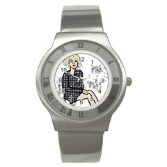 Girl Sitting Stainless Steel Watch