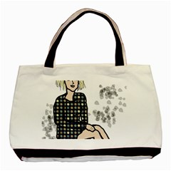 Girl Sitting Basic Tote Bag (two Sides)