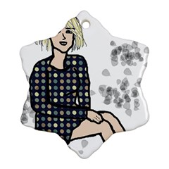 Girl Sitting Snowflake Ornament (two Sides)