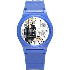 Girl Sitting Round Plastic Sport Watch (s)