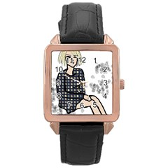 Girl Sitting Rose Gold Leather Watch
