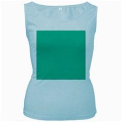 Seafoamy Green Women s Baby Blue Tank Top