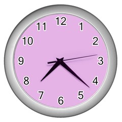 Pink Flowers Wall Clocks (silver)