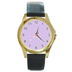 Baby Lilac Round Gold Metal Watch