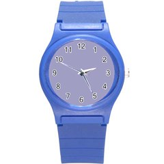 Grey Violet Round Plastic Sport Watch (s)