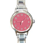 Rosey Round Italian Charm Watch Front