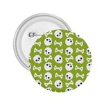 Skull Bone Mask Face White Green 2.25  Buttons Front
