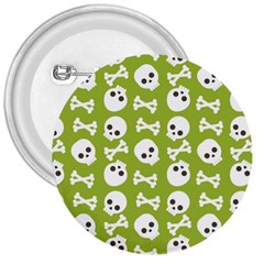 Skull Bone Mask Face White Green 3  Buttons