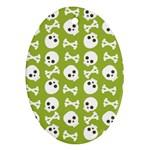 Skull Bone Mask Face White Green Ornament (Oval) Front