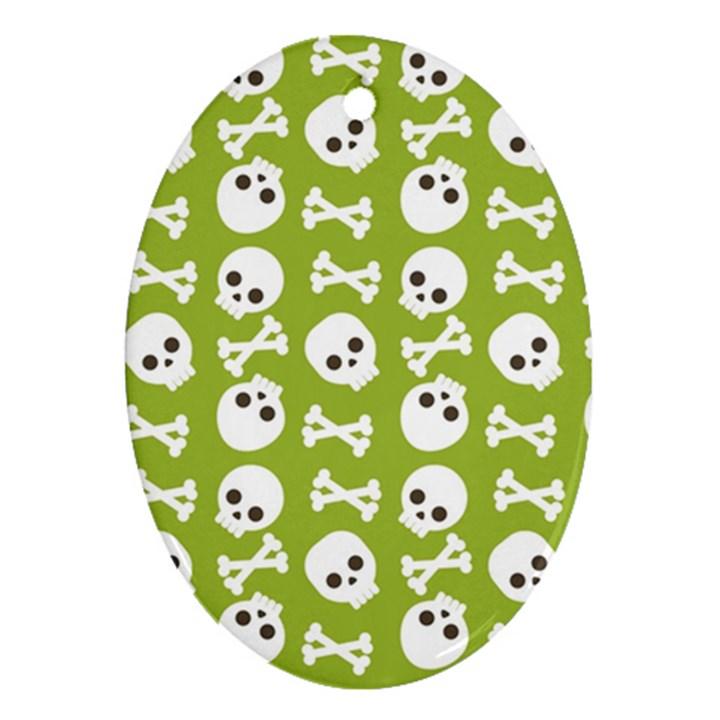 Skull Bone Mask Face White Green Ornament (Oval)