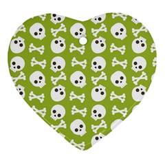 Skull Bone Mask Face White Green Ornament (heart)