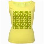 Skull Bone Mask Face White Green Women s Yellow Tank Top Front