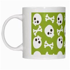 Skull Bone Mask Face White Green White Mugs