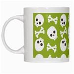 Skull Bone Mask Face White Green White Mugs Left