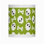 Skull Bone Mask Face White Green White Mugs Center