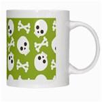 Skull Bone Mask Face White Green White Mugs Right