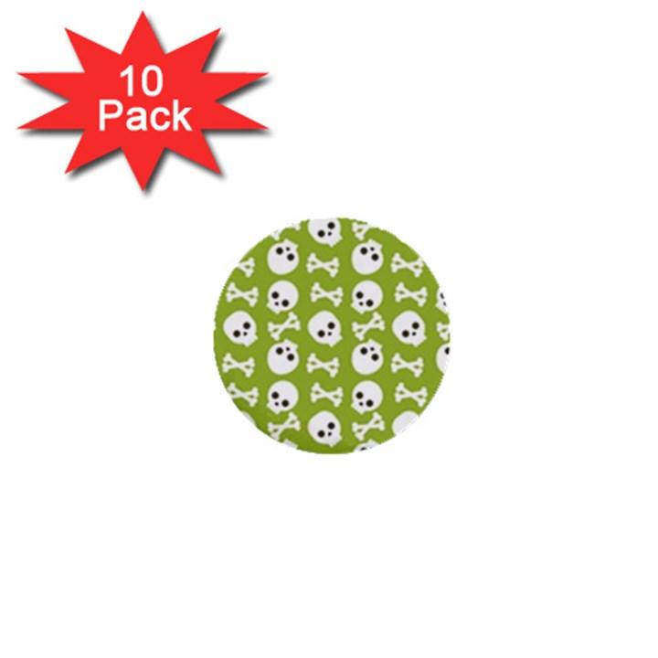 Skull Bone Mask Face White Green 1  Mini Buttons (10 pack)