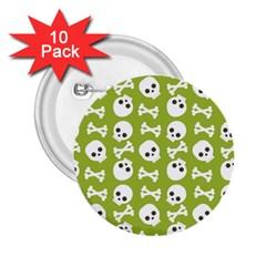 Skull Bone Mask Face White Green 2 25  Buttons (10 Pack)