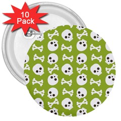 Skull Bone Mask Face White Green 3  Buttons (10 Pack)