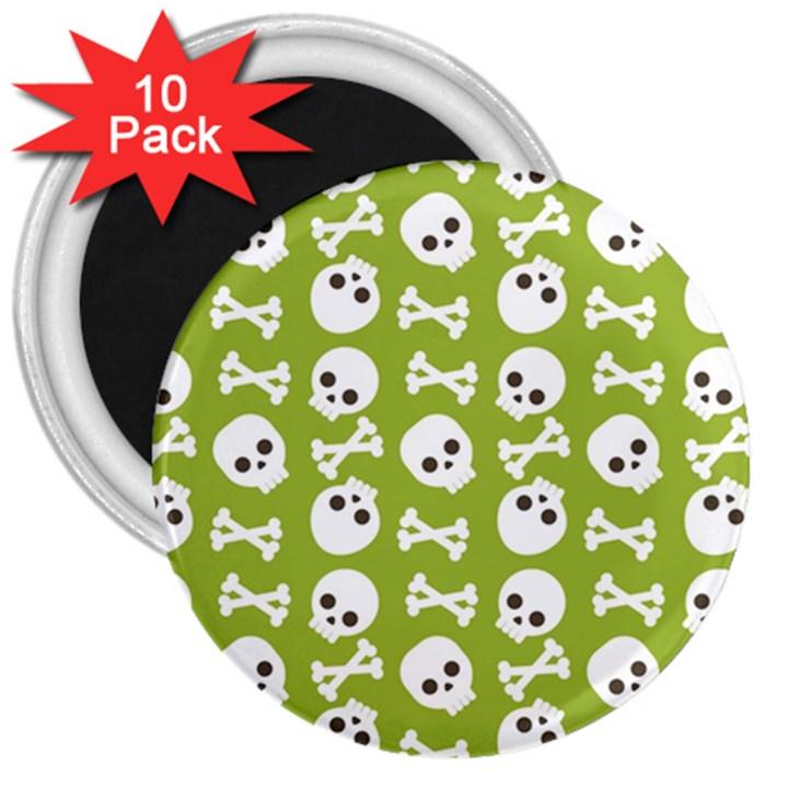 Skull Bone Mask Face White Green 3  Magnets (10 pack)