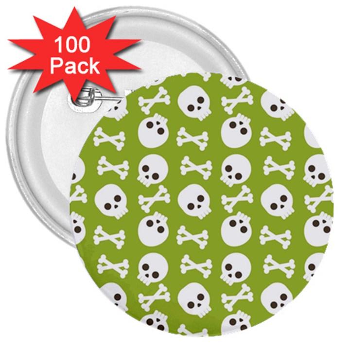 Skull Bone Mask Face White Green 3  Buttons (100 pack)