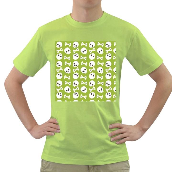 Skull Bone Mask Face White Green Green T-Shirt