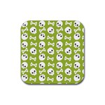 Skull Bone Mask Face White Green Rubber Coaster (Square)  Front