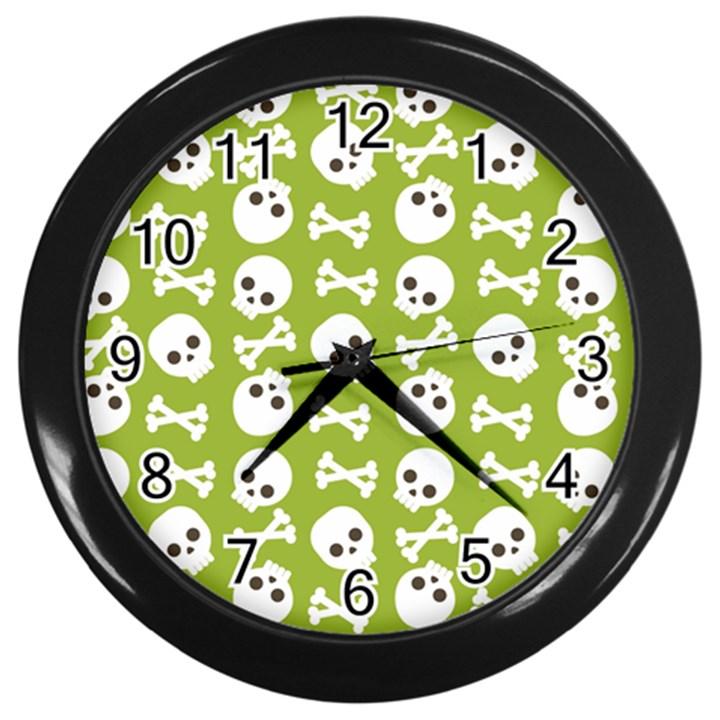 Skull Bone Mask Face White Green Wall Clocks (Black)