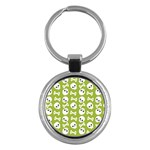 Skull Bone Mask Face White Green Key Chains (Round)  Front