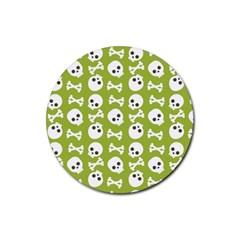 Skull Bone Mask Face White Green Rubber Coaster (round)