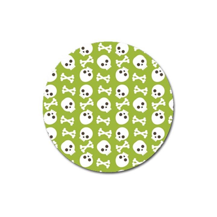 Skull Bone Mask Face White Green Magnet 3  (Round)