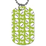 Skull Bone Mask Face White Green Dog Tag (One Side) Front