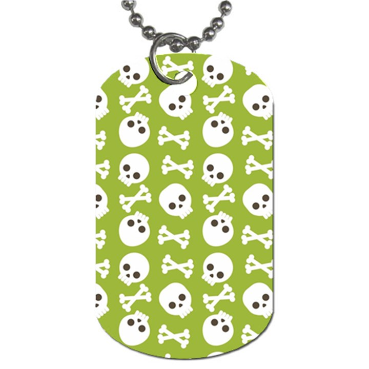 Skull Bone Mask Face White Green Dog Tag (One Side)