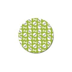 Skull Bone Mask Face White Green Golf Ball Marker