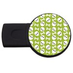 Skull Bone Mask Face White Green USB Flash Drive Round (2 GB) Front