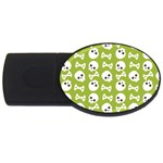 Skull Bone Mask Face White Green USB Flash Drive Oval (2 GB) Front