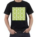 Skull Bone Mask Face White Green Men s T-Shirt (Black) (Two Sided) Front