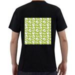 Skull Bone Mask Face White Green Men s T-Shirt (Black) (Two Sided) Back