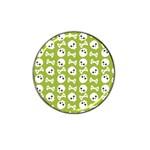 Skull Bone Mask Face White Green Hat Clip Ball Marker Front