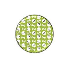 Skull Bone Mask Face White Green Hat Clip Ball Marker (10 Pack)